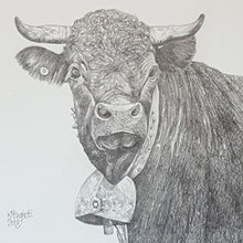 Load image into Gallery viewer, Drawing of a Swiss cow