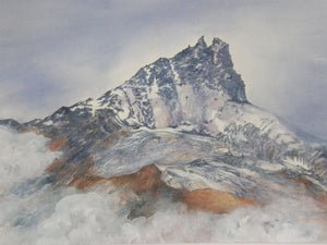 Original watercolour painting of the Becs de Bossons in the Val d'Anniviers, Switzerland.