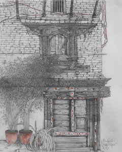 Drawing of a door in Nepal