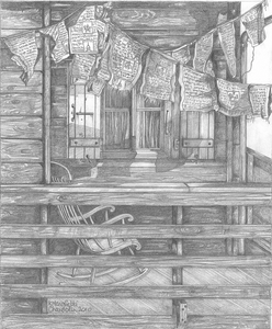 Drawing of prayer flags