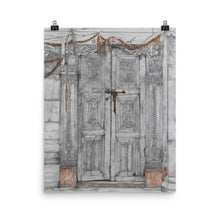 Load image into Gallery viewer, Drawing of a door in Bhaktapur Nepal