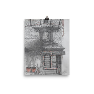 Pencil drawing poster print of an old door in Bhaktapur, Nepal.