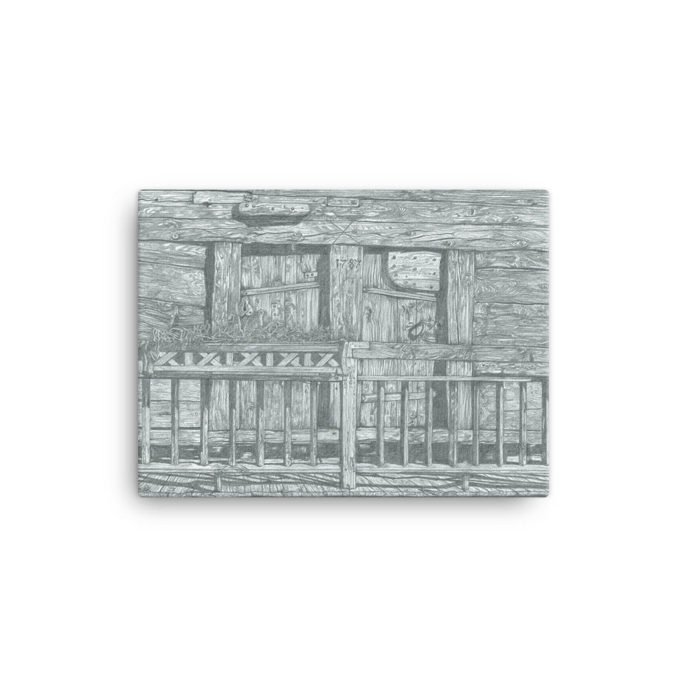 Pencil drawing canvas print of a Balcony in Vissoie, Val d'Anniviers, Switzerland.