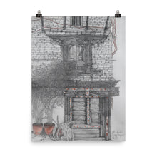 Load image into Gallery viewer, Pencil drawing poster print of an old door in Bhaktapur, Nepal.