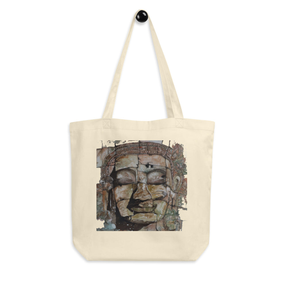 Smiling Stone Face Eco Tote Bag