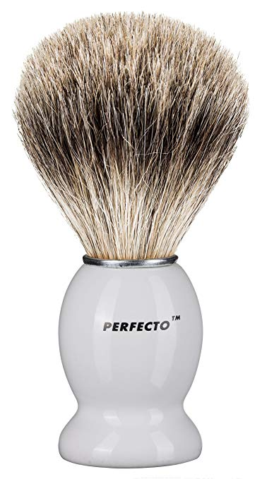 Perfecto 100% Pure Badger Shaving Brush-White Handle. - SGTSHARP.COM