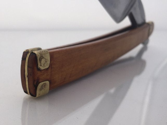 c1870 Wade and Butcher straight razor 9/8 barbers notch w/ vintage wood scales and brass pins - SGTSHARP.COM