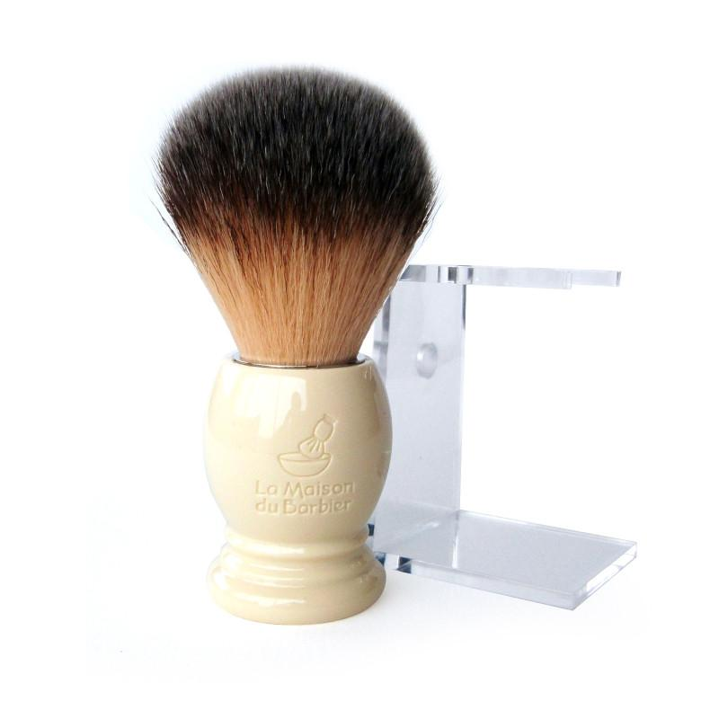 """La Maison du Barbier"" Synthetic Shaving Brush & Stand, Ivory Handle - SGTSHARP.COM"