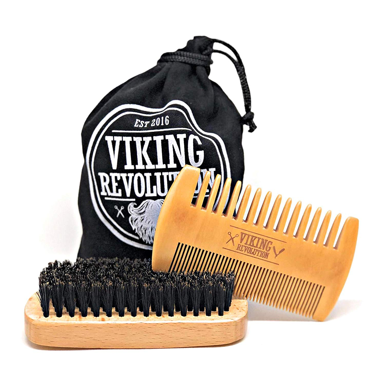 Beard Comb & Beard Brush Set for Men - Natural Boar Bristle Brush and Dual Action Pear Wood Comb w/Velvet Travel Pouch - Great for Grooming Beards and Mustache - SGTSHARP.COM
