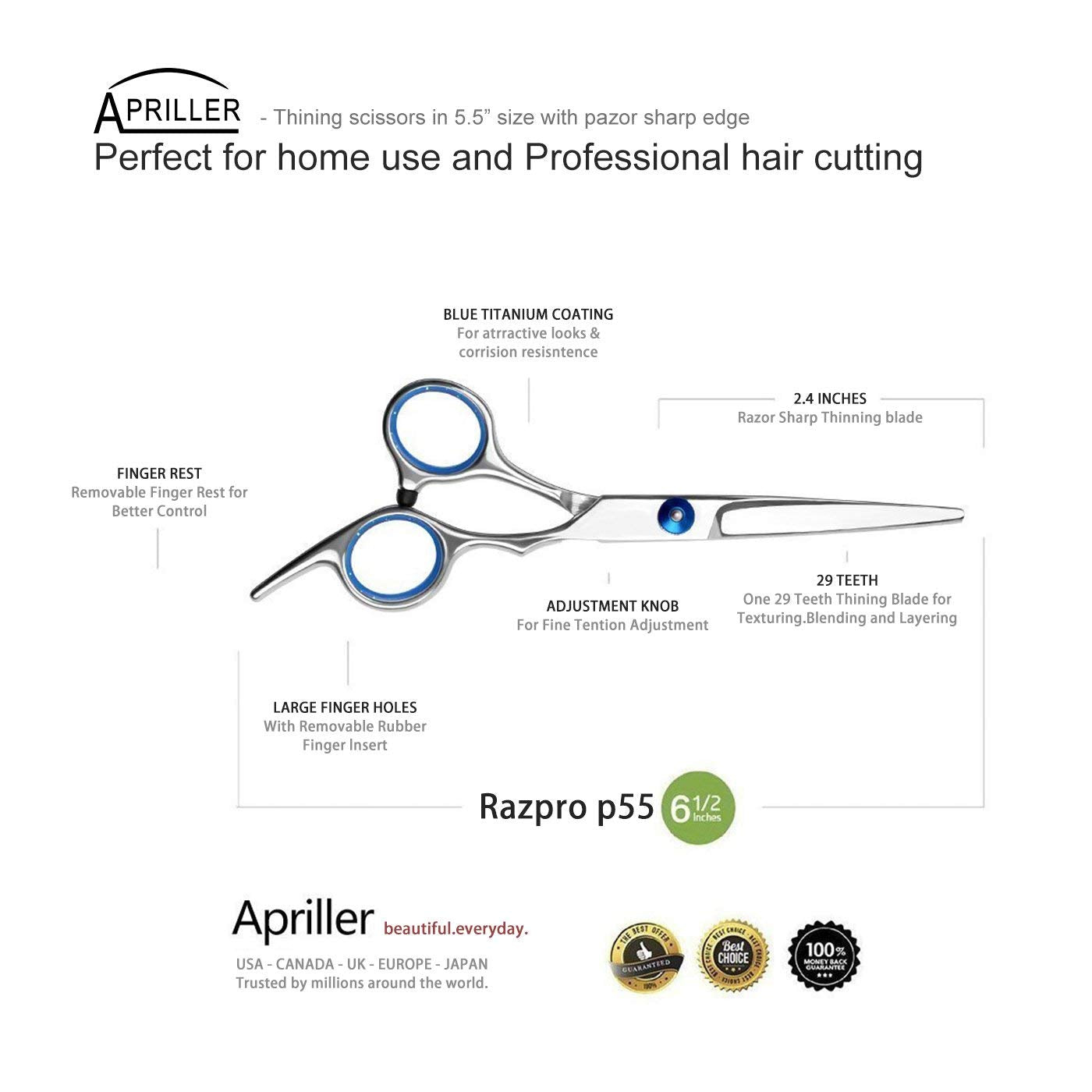 Hair Cutting Scissors/Thinning Shears/Professional Barber/Salon Razor Edge Tools set/Mustache Scissors and Barber Scissors with Fine Adjustment Screw-High Quality Japanese Stainless Steel kit-Apriller - SGTSHARP.COM