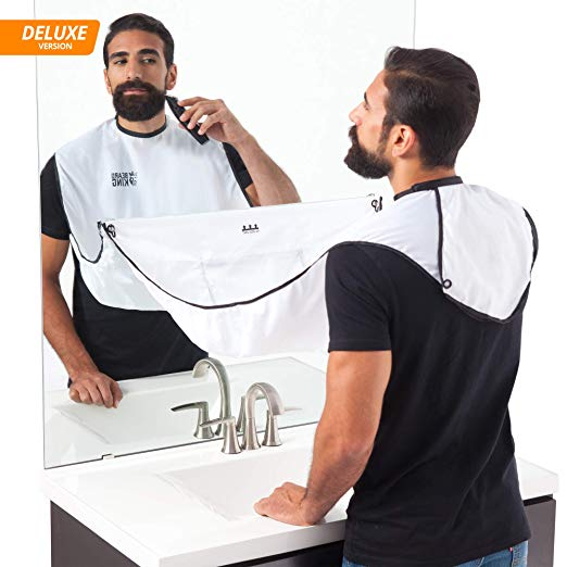 07a600521981 The Official Beard Bib - Hair Clippings Catcher   Grooming Cape Apron – SGT  SHARP