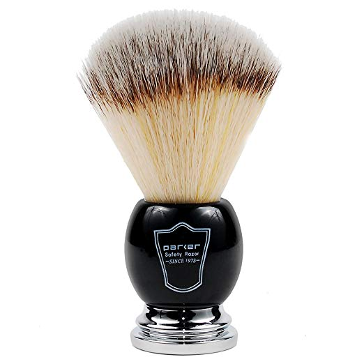 Parker's Deluxe Synthetic Silvertip Shaving Brush, Black & Chrome Handle, 22mm Knot, Animal Free - SGTSHARP.COM