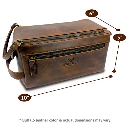 Handmade Genuine Buffalo Leather Unisex Toiletry Bag Travel Dopp Kit - SGTSHARP.COM