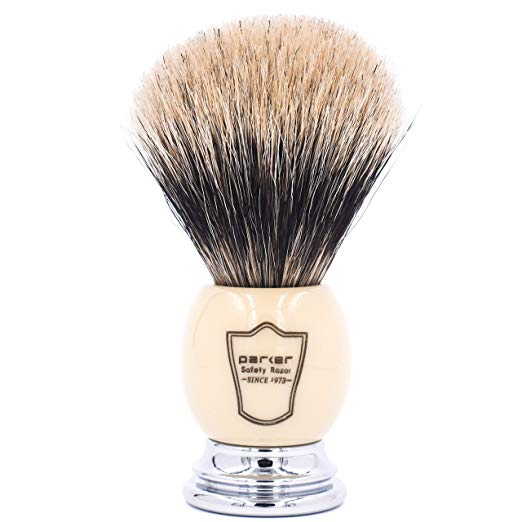 "Parker Safety Razor Handmade Deluxe""Long Loft"" 100% 3-Band Pure Badger Shaving Brush with Ivory & Chrome Handle - Brush Stand Included - SGTSHARP.COM"