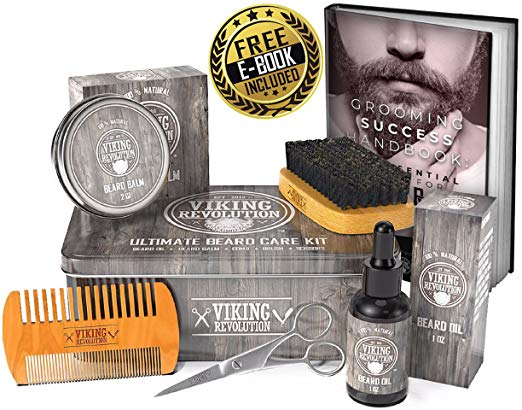 Beard Care Kit for Men - 100% Boar Beard Brush, Wood Beard Comb, Beard Balm, Beard Oil, Beard & Mustache Scissors and Metal Gift Box - SGTSHARP.COM