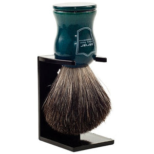 Parker Safety Razor 100% Black Badger Bristle Shaving Brush with Blue Wood Handle -- Brush Stand Included - SGTSHARP.COM