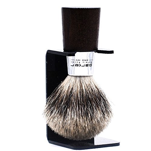 "Parker Safety Razor Handmade Shaving Brush - 100%"" Three Band Pure Badger Shave Brush with Walnut & Chrome Handle - Brush Stand Included - SGTSHARP.COM"