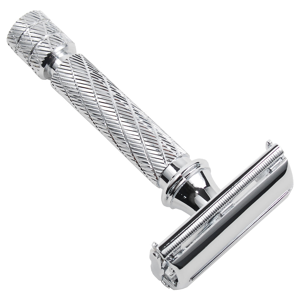 87R Butterfly Open Double Edge Safety Razor - Traditional Short Handle - 5 Premium Blades Included - SGTSHARP.COM