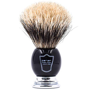 "Parker Safety Razor Handmade Deluxe""Long Loft"" 100% 3-Band Pure Badger Shaving Brush with Black & Chrome Handle - Brush Stand Included - SGTSHARP.COM"