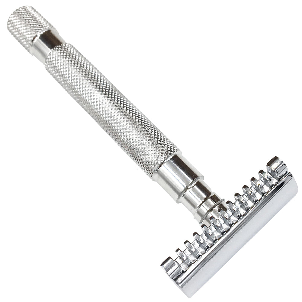 68S Stainless Steel Handle Double Edge Safety Razor with Open Comb Head & 5 Blades - SGTSHARP.COM