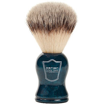 Parker Safety Razor SYNTHETIC Bristle Shaving Brush with Blue Wood Handle - Brush Stand Included - SGTSHARP.COM
