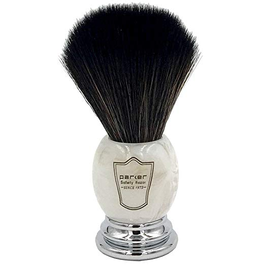 Parker Safety Razor Ultra Soft SYNTHETIC Bristle Shaving Brush with Marbled Ivory Handle - Stand Included - SGTSHARP.COM