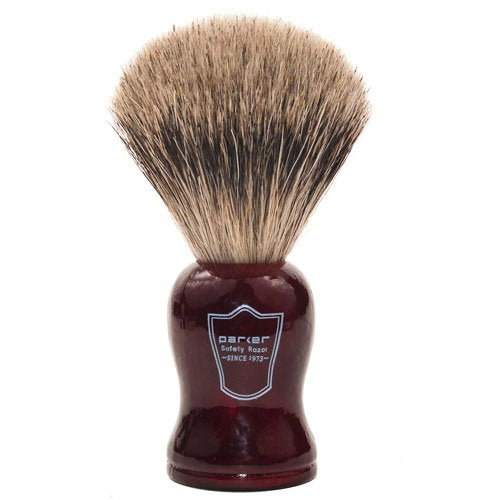 "Parker Safety Razor Premium Handmade ""LONG LOFT"" 100% Pure Badger Bristle Shaving Brush with Rosewood Handle - Brush Stand Included - SGTSHARP.COM"