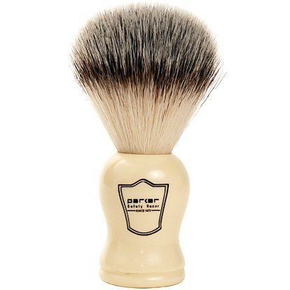 Parker Safety Razor SYNTHETIC Bristle Shaving Brush with Classic Ivory Handle -- Brush Stand Included - SGTSHARP.COM