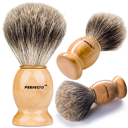 Perfecto 100% Original Pure Badger Shaving Brush. - SGTSHARP.COM