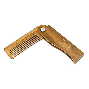 Folding Beard Comb w/Carrying Pouch for Men - All Natural Wooden - SGTSHARP.COM