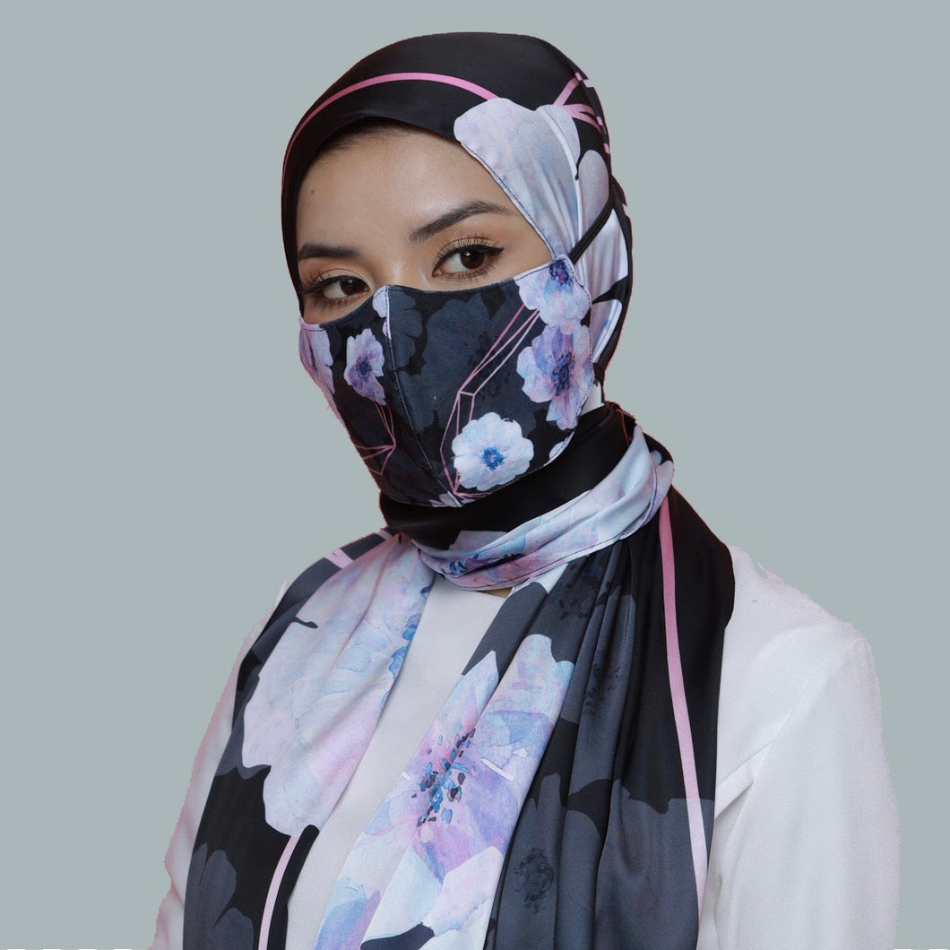 THE POSIES IN BLACK (SHAWL + MASK)