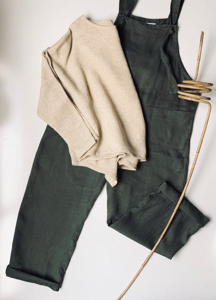 OLD BROOKLYN OVERALLS - TIE UPS - bambu road - linen clothing - comfortable chic - lifestyle collection - australian resort wear - australian brand clothing - coastal fashion