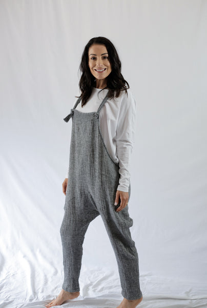 CRUSHED LA LA OVERALLS - bambu road - linen clothing - comfortable chic - lifestyle collection - australian resort wear - australian brand clothing - coastal fashion