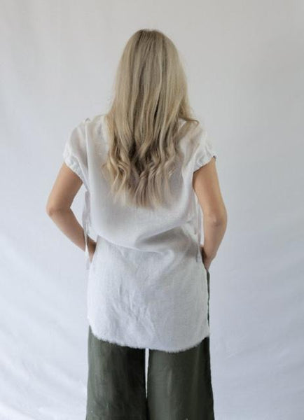 BRAX RAW EDGE TOP - LINEN - bambu road - linen clothing - comfortable chic - lifestyle collection - australian resort wear - australian brand clothing - coastal fashion