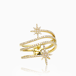 Double Star 14K Yellow Gold Ring