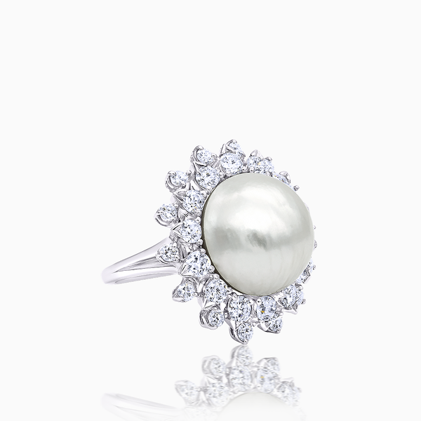 Diamond Pearl Cocktail Ring
