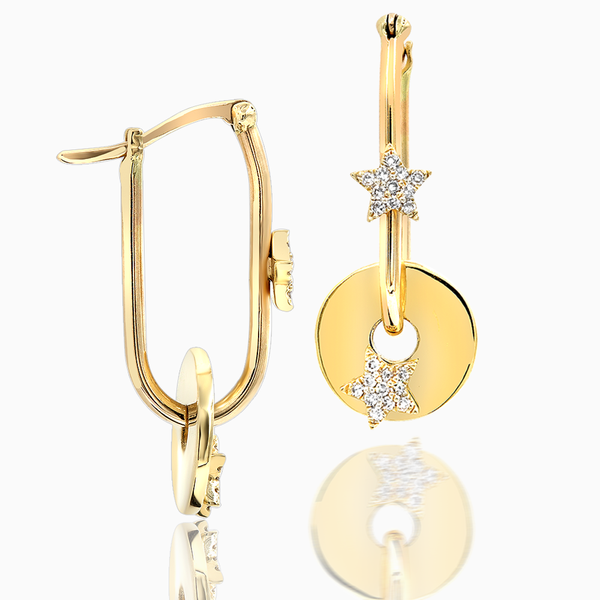 Star Disc Gold Earrings