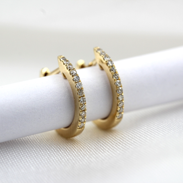 Yellow Gold Diamond Huggie Earrings