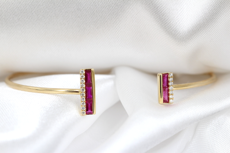 14K RUBY AND DIAMOND BANGLE