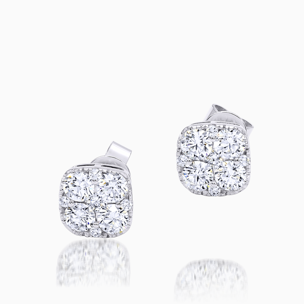 Ladies 14K White Gold Diamond Studs