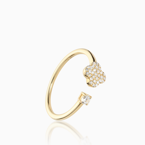 Diamond Clover Open Ring