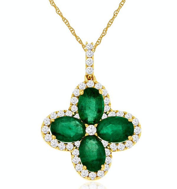 Emerald Flower Pendant