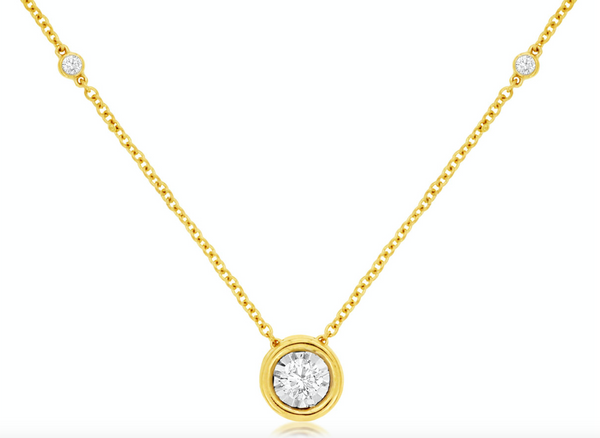 Bezel Solitaire Diamond Necklace