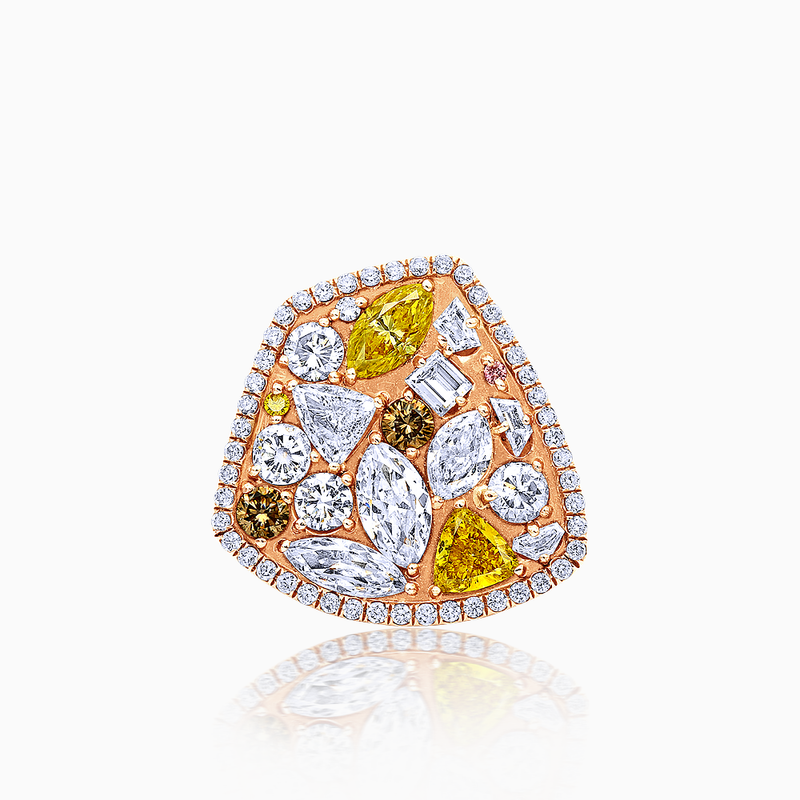 Champagne Fancy Diamond Confetti Ring