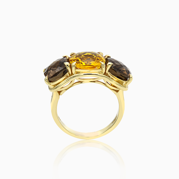Citrine and Smoky Topaz Three Stone Ring