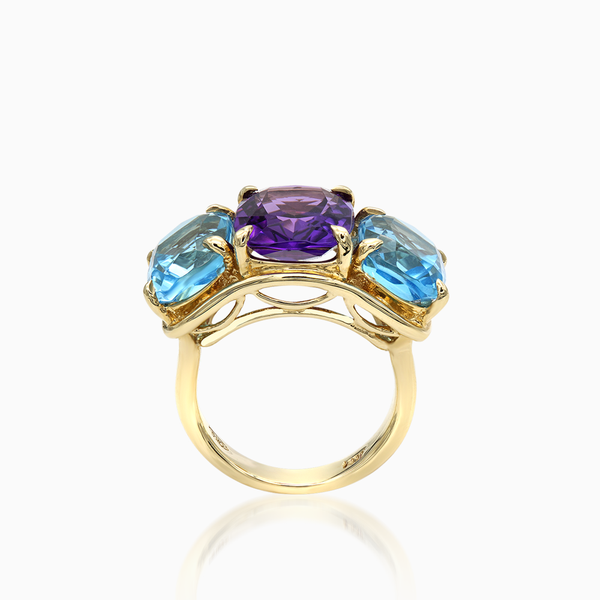 Blue Turquoise and Amethyst Ring