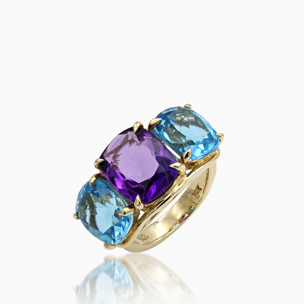 18K Yellow Gold Ring with Turquoise and Amethyst