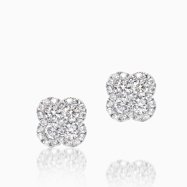 Ladies Clover Shape Diamond Studs