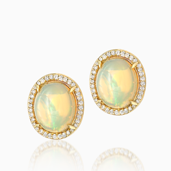 Gold Opal Earrings