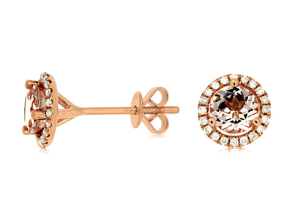 Morganite and Diamond Studs
